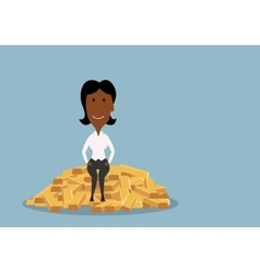 Businesswoman sitting on heap of gold bars vector