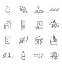 Water icons line vector