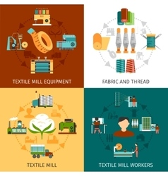 Textile mill 4 flat icons square vector