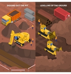 Construction machinery isometric vertical banners vector