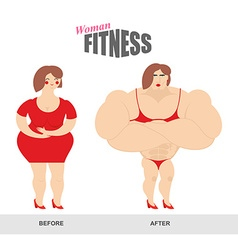 Womens fitness woman body before and after sports vector