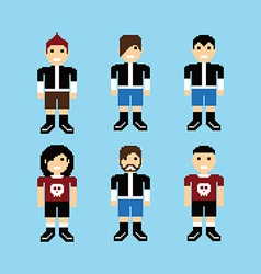 pixel people avatar set vector image