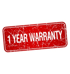 1 year warranty red square grunge textured vector
