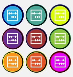 Abacus icon sign Nine multi colored round buttons vector image