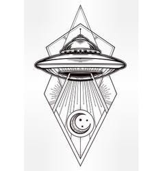 Alien geometric UFO Background vector image vector image