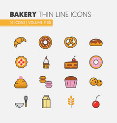 Bakery and desserts thin line icons set vector