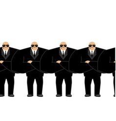 Bodyguard black suit and hands-free security man vector