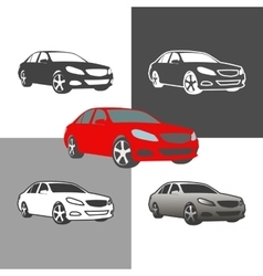 Car sedan vehicle silhouette icons colored and vector