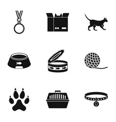 Cat house icons set simple style vector