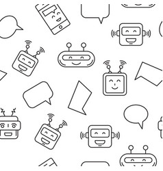 Chat bot and bubble seamless pattern vector
