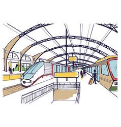 Colorful sketch with railway station hand drawn vector