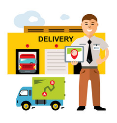 Delivery logistics center flat style vector