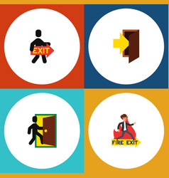 Flat icon exit set of entry evacuation exit and vector