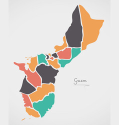 Guam map with states and modern round shapes vector