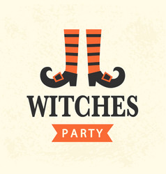 Halloween witches party emblem template vector
