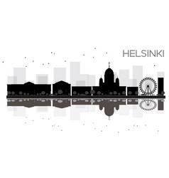 helsinki city skyline black and white silhouette vector image