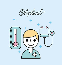 medical doctor staff stethoscope and thermometer vector image