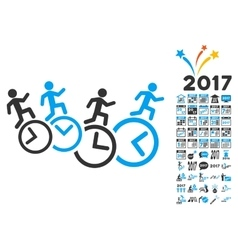 Men running over clocks icon with 2017 year bonus vector