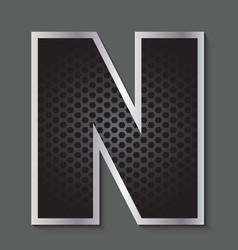Metal grid font - letter N vector image vector image