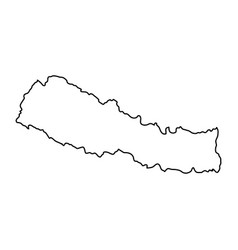 nepal map of black contour curves on white vector image