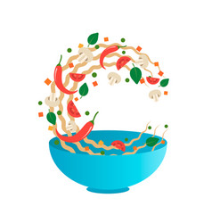 Noodles with vegetables in bowl vector