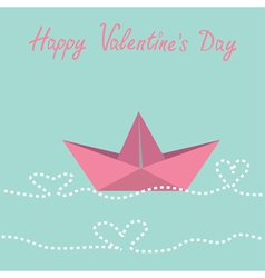 Paper boat and waves in shape of heart Valentines vector image