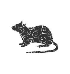 Rat mouse rodent color silhouette animal vector