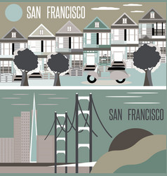 San francisco landmarks horizontal flat design vector