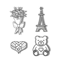 Set bouquet flowers and eiffel tower vector