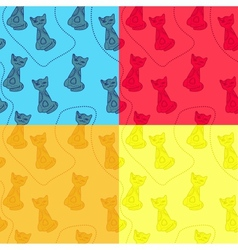 set of cat patterns vector image