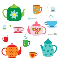 set of teapots and cups vector image