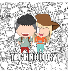 Teenage girl and boy wearing hat playing with vector