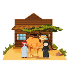 Two arab people and camel at home vector