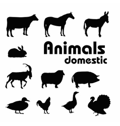 Domestic animals silhouettes vector