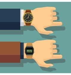 Businessmans hand with wrist watch save time vector