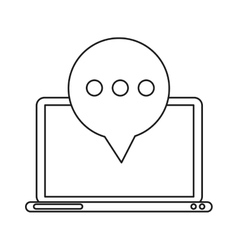 technology laptop mail bubble speech outline vector image