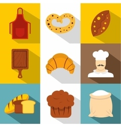 Pastries icons set flat style vector
