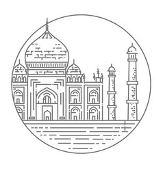 Outline of taj mahal palace icon vector