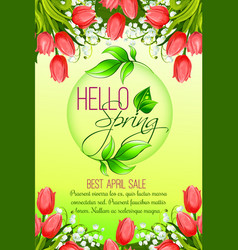 Spring holiday sale tulip flowers poster vector