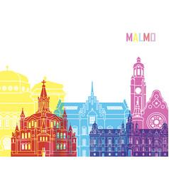 Malmo skyline pop vector