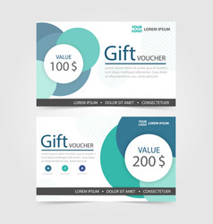Green circle gift voucher template with colorful vector