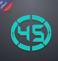 45 second stopwatch icon symbol 3d style trendy vector
