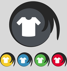 T-shirt clothes icon sign symbol on five colored vector