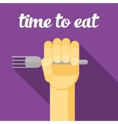 Time to eat food hand with a fork eating vector
