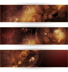 Set of sepia tone bokeh banners vector