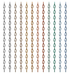 Set of multi-colored metal chain vector image