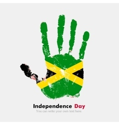 Handprint with the flag of jamaica in grunge style vector