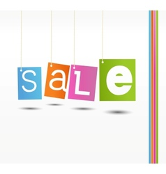 Coloful hanging sale labels vector image