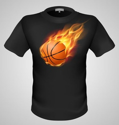 T shirts black fire print man 23 vector