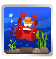 a crab underwater background vector image